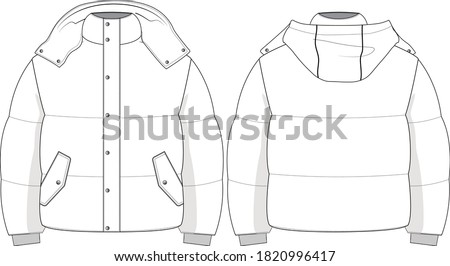 oversized puffer jacket, technical drawing ストックフォト ©