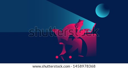 overtime or working late night, deadline. businessman exosted sitting with notebook. business concept in red and blue neon gradients