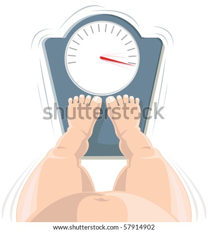 Overweight concept ? fat person on the weight scale, high angle view
