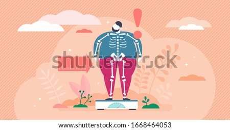 Overweight concept, flat tiny person vector illustration. Weight loss creative graphic art with very obese man on scales and slim skeleton beneath the fat. Unhealthy eating habits and bad nutrition. Сток-фото ©