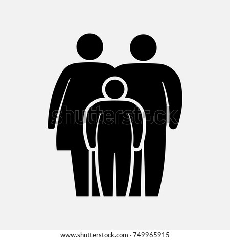 Overweight family icon. Fat  woman, man and boy. Vector illustration. Eps 10.