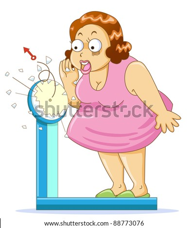 Overweight fat woman on the weight scale