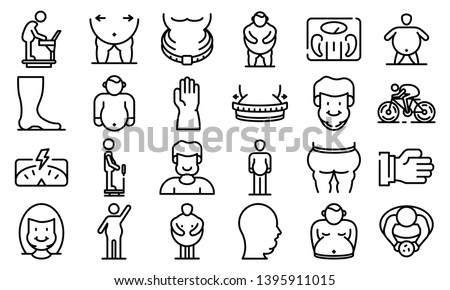 Overweight icons set. Outline set of overweight vector icons for web design isolated on white background