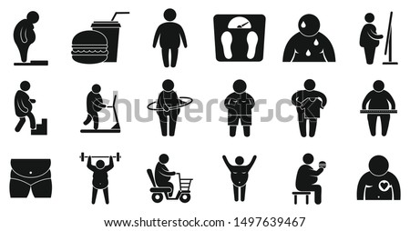 Overweight icons set. Simple set of overweight vector icons for web design on white background
