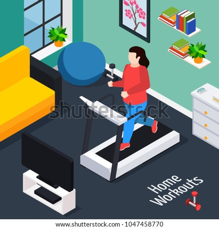 Overweight isometric composition with woman running on treadmill during home workouts vector illustration