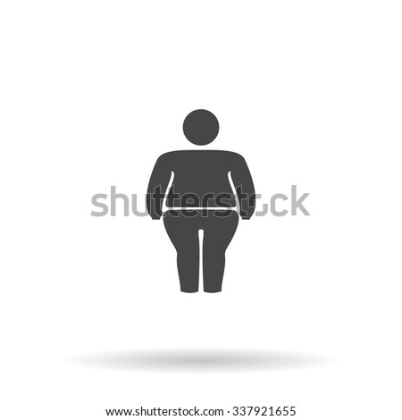 Overweight man symbol. Icon Vector
