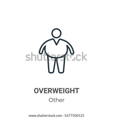 Overweight outline vector icon. Thin line black overweight icon, flat vector simple element illustration from editable other concept isolated stroke on white background ストックフォト ©