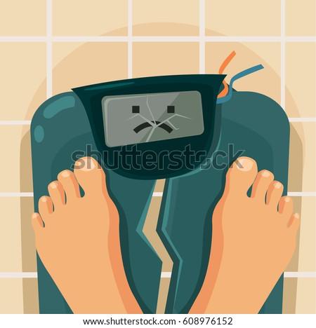 Overweight people. Broken scales. Vector flat cartoon illustration