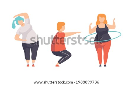 Overweight People Doing Sports Set, Fat Persons Spinning Hula Hoop, Doing Squats, Weight Loss Program Concept Flat Vector Illustration Foto stock ©