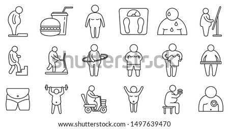 Overweight people icons set. Outline set of overweight people vector icons for web design isolated on white background ストックフォト ©