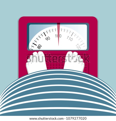 Overweight people. Obese people stand on a weight scale.
