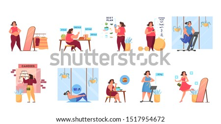 Overweight woman become thin process. Idea of fitness and healthy diet. Weight loss process. Woman with big belly , person suffer from obesity. Isolated vector illustration in cartoon style