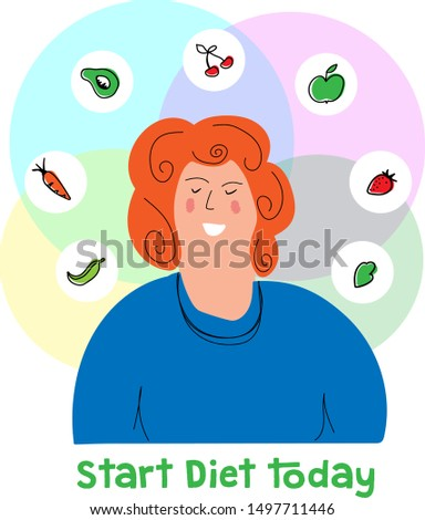 Overweight woman is planning a healthy diet. Start a diet today concept. Vegetables and fruits around the head of a fat woman.