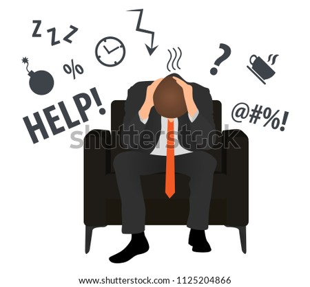Overworked and tired businessman or office worker sits in a chair. Business stress. Flat style modern vector illustration. Man Has Clasped Head Hands Overworked. Busy. Icon. Fail. Deadline. Problem.