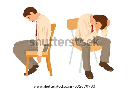 Overworked businessman is under stress with headache. Worried man. View front and side. Color vector flat illustration isolated on white background.