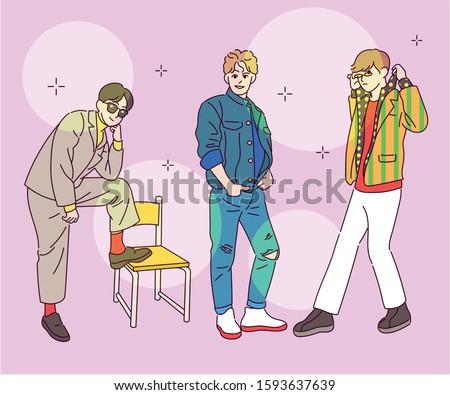 Overworked fashionable guys. Corny fashion. hand drawn style vector design illustrations.  Сток-фото ©