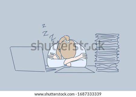 Overworking, sleep, office, fatigue, stress, business concept. Tired exhausted businesswoman clerk manager sleeps on workplace near pile of documents and laptop at office. Overworking, stress at work.