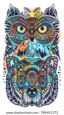 Owl and bear color tattoo art watercolor splash. Owl, mountains in ethnic celtic style t-shirt design. Owl and tribal bear tattoo symbol of wisdom, meditation, thinking, tourism, adventure