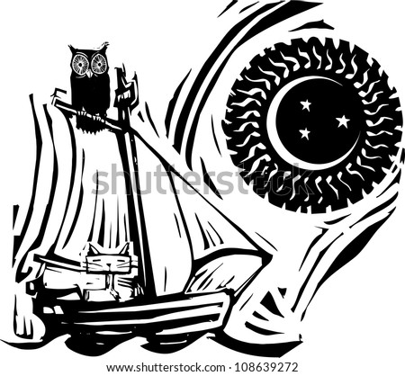 Owl and cat on a boat under the moon and stars.