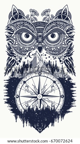 owl and compass tattoo art owl