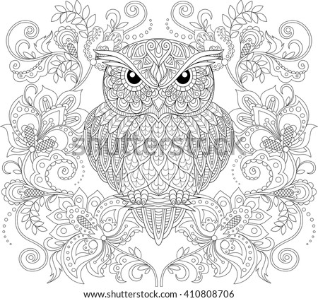 owl and floral ornament adult