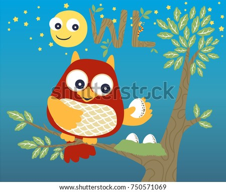 owl and his eggs  vector cartoon