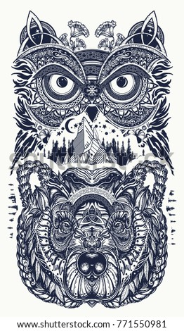 Owl and tribal bear tattoo symbol of wisdom, meditation, thinking, tourism, adventure ethnic celtic style tattoo and t-shirt design