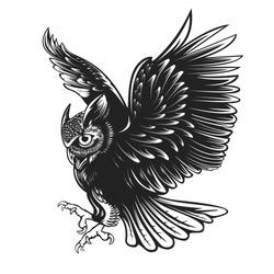 Owl. Bird vector illustration. Tattoo. Totem animal. Bubo bubo. Barn owl. Wings. Scops owl. Nocturnal bird. Forest. Animal. Wisdom symbol. Print design for t-shirts.Retro style.