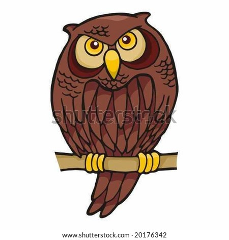 stock vector : Owl cartoon sitting on a branch looking at you