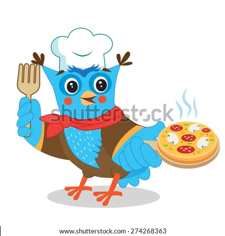 owl chef with pizza cute image
