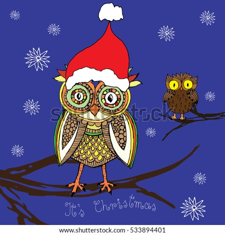 owl christmas card with owls