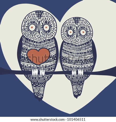 owl couple in love on tree branch at night