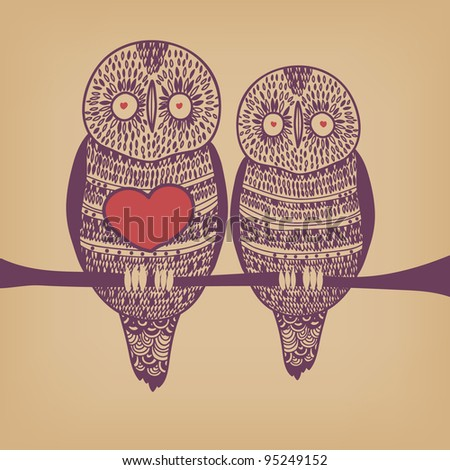 owl couple in love on tree