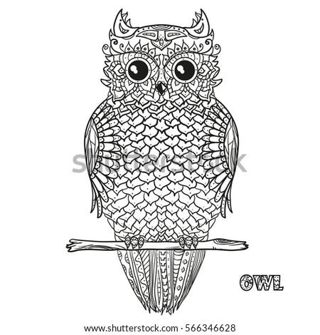 owl design zentangle hand