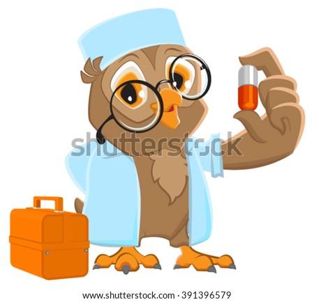 owl doctor holding pill