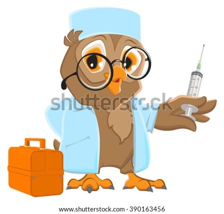 owl doctor holding syringe