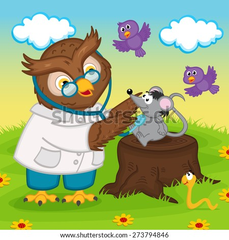 owl doctor with stethoscope