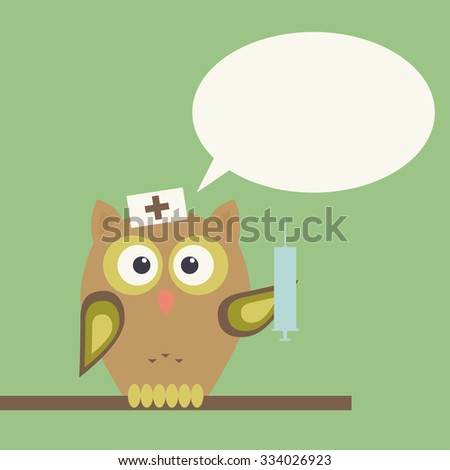 owl doctor with syringe  speech