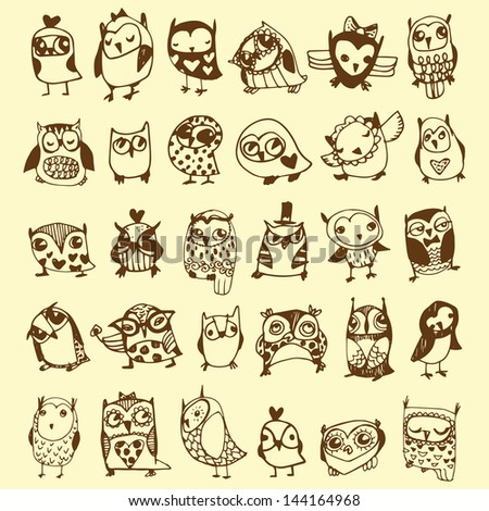 Owl Doodle Drawing Owl Doodle Collection Hand