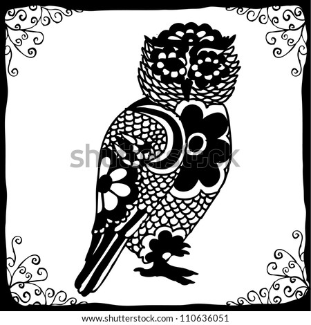 owl drawing vectorized