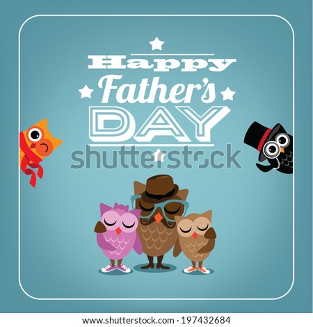 Owl Father �� s Day Card EPS 10 vector
