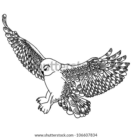 Flying owl drawings black and white - photo#15