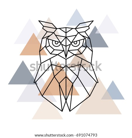 Owl geometric head. Scandinavian style. Vector illustration.