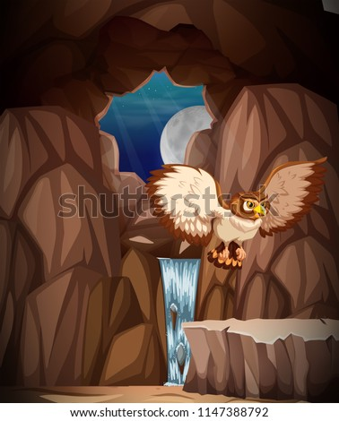 Stock Photo Owl hunting at night in cave illustration