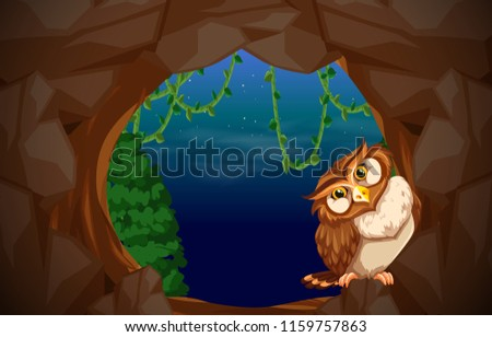 Stock Photo Owl in cave entrance illustration