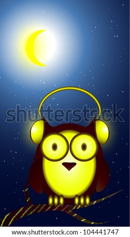 Owl in headphones at night