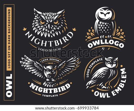 Owl logo set- vector illustrations. Emblem design on black background.