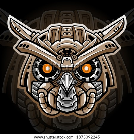 owl mecha head mascot esport