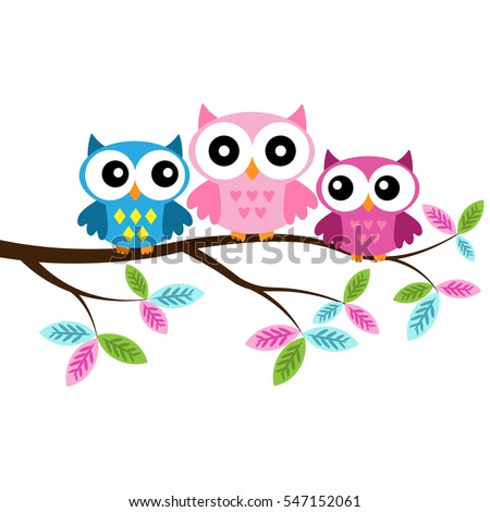 Owl mom and two owl babies  sitting on the branch on a white background