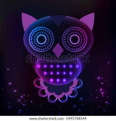 owl of geometric shapes, vector illustration